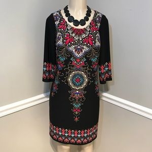 LONDON TIMES Black Medallion Shift Dress Size 8